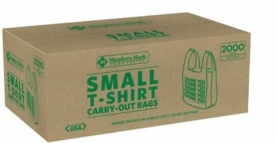 2000 T-Shirt Carry Out Bags Small Grocety Thank You Plastic Stores Member's Mark