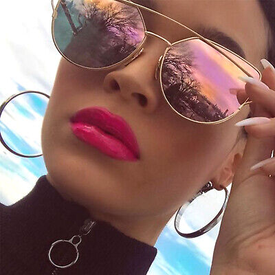 Fancy Oversized Cat Eye Sunglasses Metal Frame Flat Mirror Lens Women Fashion