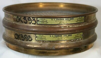 """Pair of Vintage Solid Brass Calibration Sieves 8"""" Dual Mfg. Free Shipping in US"""
