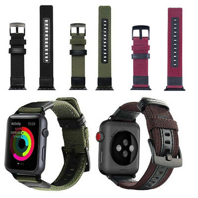 Heavy Duty Nylon Watch Band Strap Military Woven Loop Replacement For iWatch