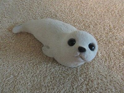 SEAL FIGURINE resin stone statue sculpture sea lion white otter decor