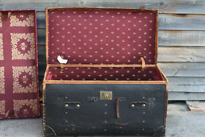 Handpainted Original Children's Vintage Antique Teddy Bear Toy Trunk Chest