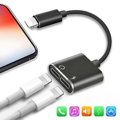 Dual Lightning Adapter Charging Splitter 2 in 1 Audio Cable for iPhone 7Plus 8 X