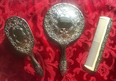 Vintage Silver-Plated? VICTORIAN Hand Held Mirror, Brush and Comb For Vanity