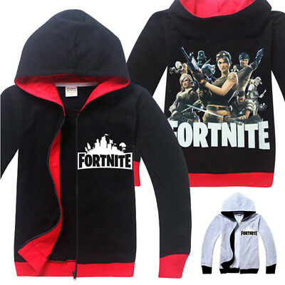 Boys Fortnite Royale Zip Hoodie Jacket Coat Cosplay Costume Cardigan Outwear AU
