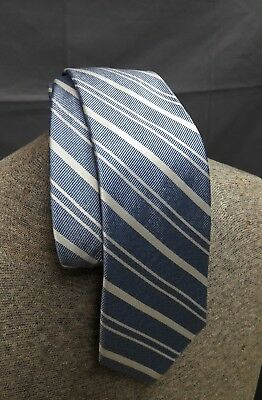 New BROOKS BROTHERS Tie Stripe Blue White Woven Silk Necktie NWT