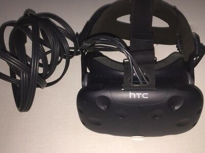 HTC Vive VR headset with cable and audio strap in good working condition