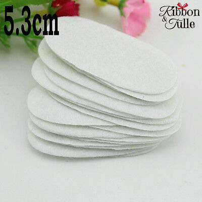 5.3cmX2.5cm  50pcs White Oval Felt Pads Flowers DIY Crafts Scrapbooking Patches