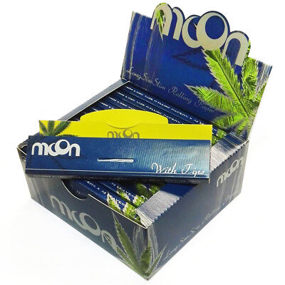 10 booklets MOON Long Size Slim Rice Cigarette Rolling Papers & Tips Extra Long