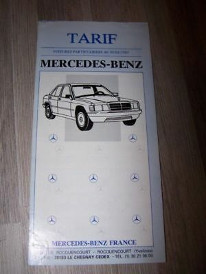 0U - Prospectus/Brochure/Catalogue Mercedes benz TARIF 1987