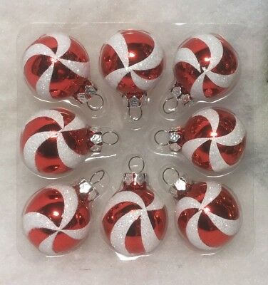 Mini Peppermint Ball Glass Christmas Tree Ornaments Red, White, Candy