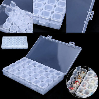 Clear Plastic 28 Slots Adjustable Jewelry Beads Organizer Box Case Craft Contain