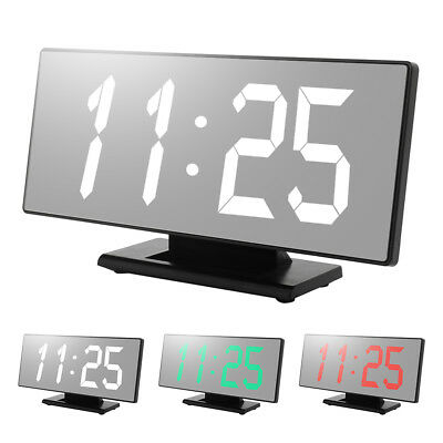 Alarm Clock Large Digital LED Display Portable USB Port Operated Mirror Bedroom
