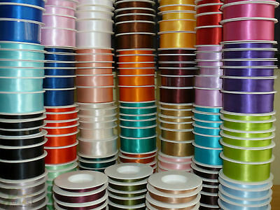 Satin Ribbon 25 Metre Rolls 35 Colours 3mm 6mm 10mm 16mm 25mm Various Colours