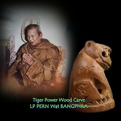 LP PERN Tiger Wood Carve Thai Amulet Buddha Talisman Magic For Luck  Pendant