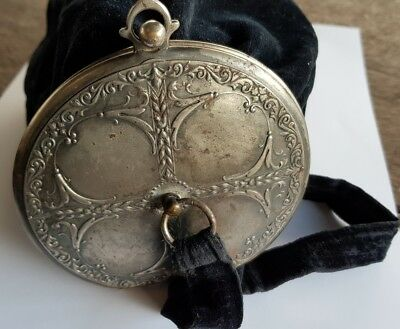 ANTIQUE VETERAN VINTAGE ESTATE EARLY 1900's VELVET EVENING PURSE WITH SILVER LID