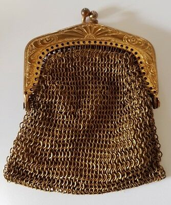ANTIQUE VETERAN VINTAGE, VERY EARLY 1900's MESH COIN PURSE EVENING - GOLD COLOUR