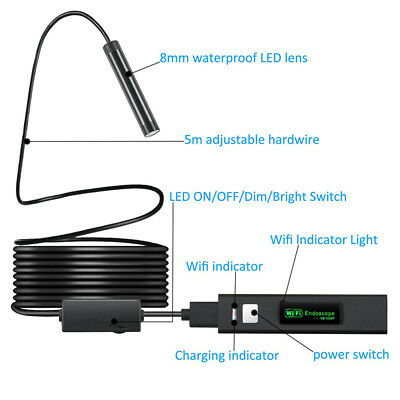 8mm USB HD Micro Wifi Endoscope Borescope Inspection Camera For iPhone Android