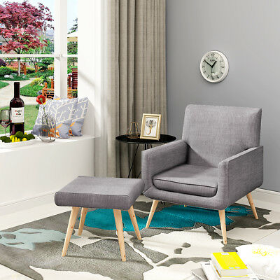 Modern Accent Easy Fabric Tub Chair Armchair&Stool Sage Sofa Dining Lounge Grey