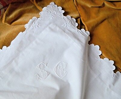 Antique French hand embroidered pillow case, embroidered scallops, SC monogram