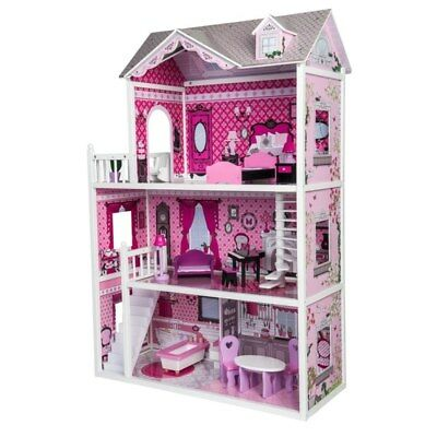 Large Dolls House Wooden Pink 3 Tier Childs Height Tall Furniture Included
