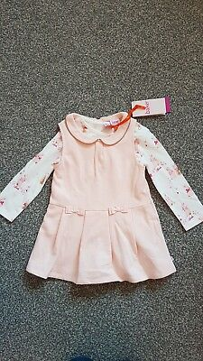Ted Baker 2 Piece Girls Top And Dress Peach With Bunnies Bnwt 12-18 Months
