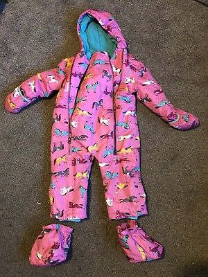 Joules girls snowsuit, age 18 - 24 months, pink horse print