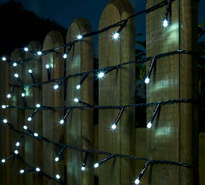 100 White Outdoor Battery Operated Fairy Lights with Timer