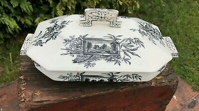 Rare Antique Vintage Beautiful Eaton Davenport Black & White Vegetable Turrene *