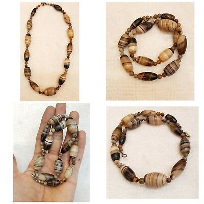 Sulimani Old Ancient Banded  Agate Beads Wonderful Necklace  # 55 aybn