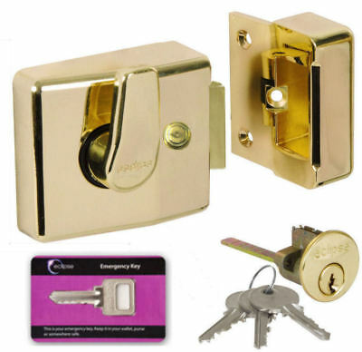 Nightlatch 60mm Narrow Brass Front Door Lock Archictectural Rim Cylinder +4 Keys