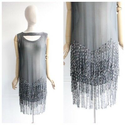 Vintage 1920's flapper dress Beaded Silk twenties dress size 12 vintage chiffon