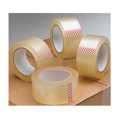 Clear 48mm x 66M Low Noise Branded 2 4 6 12 24 Tape Parcel Packing Box Sealing