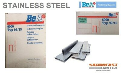 BeA 92/15 STAINLESS STEEL STAPLES - BOX 6,000