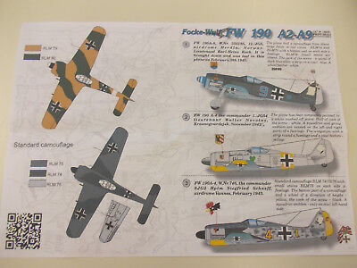 Decals by PRINT SCALE, 1/144, FOCKE WULF 190 A2-A9, 15 markings possible !
