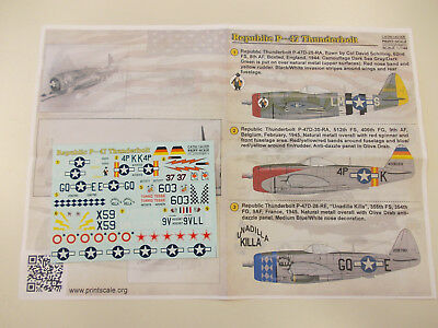 Decals by PRINT SCALE, 1/144, Republic P 47 Thunderbolt, 9 markings possible !