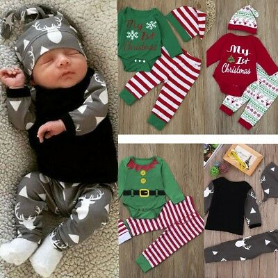 3Pcs Newborn Baby Boy Girl Christmas Tops Shirt Romper+Pants+Hat Cap Outfits Set