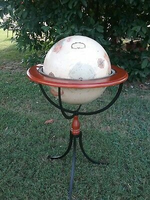 "Vintage Replogle 16""  World Globe W/iron Metal Stand raised Graphics"