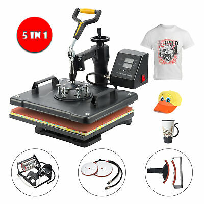 5 in 1 Heat Press Machine Multifunctional Transfer Sublimat for T Shirt  Hat Pad