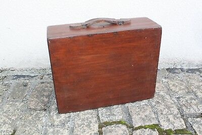 Vintage Wooden Suitcase Box Carry Case Heavy Duty Locks With Key 46x16x35