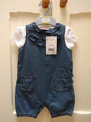 Boots Mini Club Baby Girl Denim Shorty Romper Outfit 3-6/6-9 Months BNWT!!