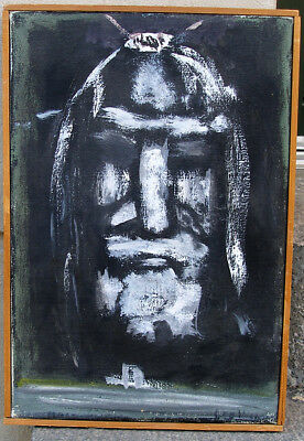The Shroud of Turin. 1950s oil painting.  Signed.