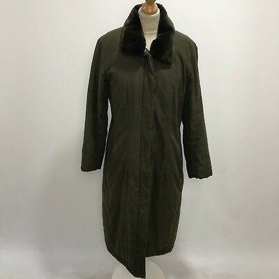 OLSEN Dark Green Padded Long Outdoor Casual Country Coat Womens Size UK 12 30643