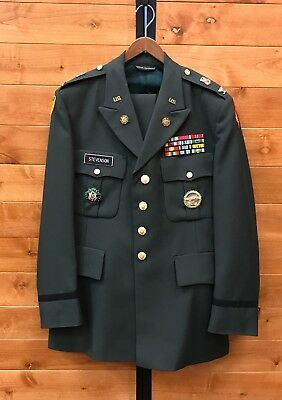 Vintage Named Vietnam Era US ARMY Dress Jacket PINS PATCHES & 2 Pairs of Pants