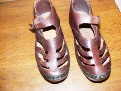 1940s childrens brown leather clogs evacuee costume wooden sole child size 10 UK