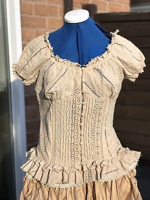 Steampunk Pirate Wench Gypsy Top Bodice Medieval Size 12/14 Beige By Next
