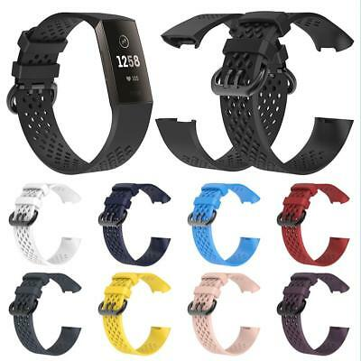 Adjustable For Fitbit Charge 3 Silicone Watch Band Bracelet Sports Wrist Strap