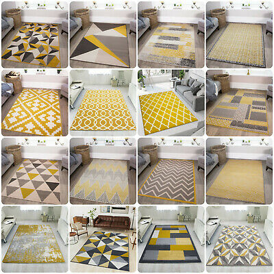 Ochre Yellow Mustard Grey Living Room Rug Kaleidoscope Geometric Area Rugs Cheap