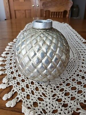 Vintage Silver Mercury Diamond Quilted Glass Lightning Ball King Ventilation Co.