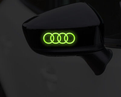 AUDI LOGO RINGS GLOW IN DARK DECALS STICKERS GRAPHICS x2 SET FOR WING MIRRORS